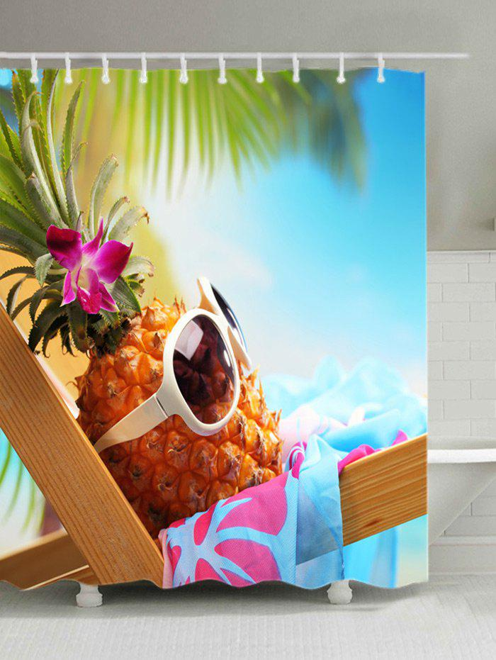 Hawaiian Pineapple Basking in Sunshine Print Shower Curtain - COLORMIX W59 INCH * L71 INCH
