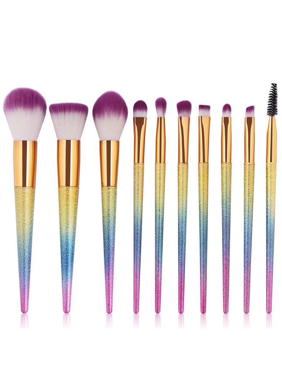 10Pcs Ultra Soft Synthetic Fiber Hair Cosmetic Brush Set - COLORFUL