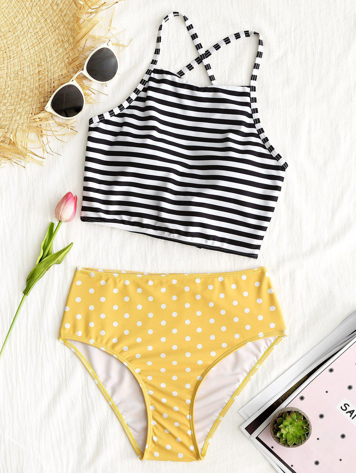 Striped Polka Dot High Waisted Bikini Set dot print high leg bikini set