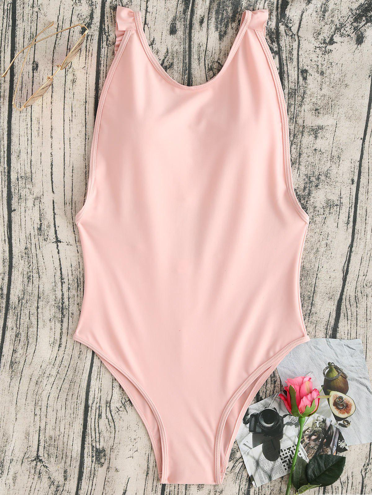Ruffles High Cut One Piece Swimwear - LIGHT PINK M