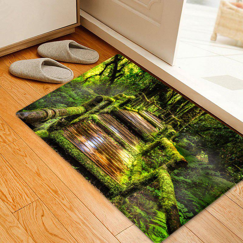 Wooden Path In Forest Pattern Indoor Outdoor Area Rug - GREEN W20 INCH * L31.5 INCH