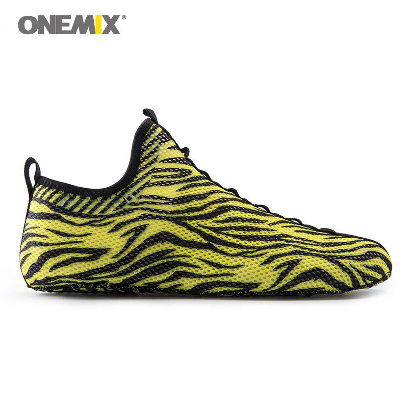 ONEMIX Indoor Slip On Knit Casual Shoes - YELLOW/BLACK 45