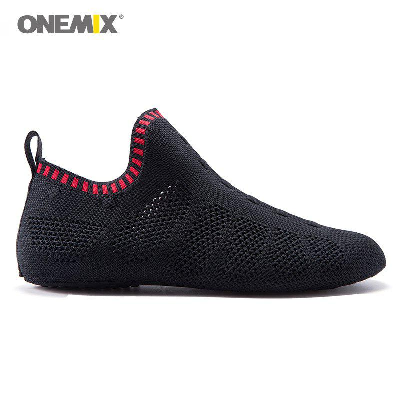 ONEMIX Indoor Slip On Knit Casual Shoes - BLACK/RED 45