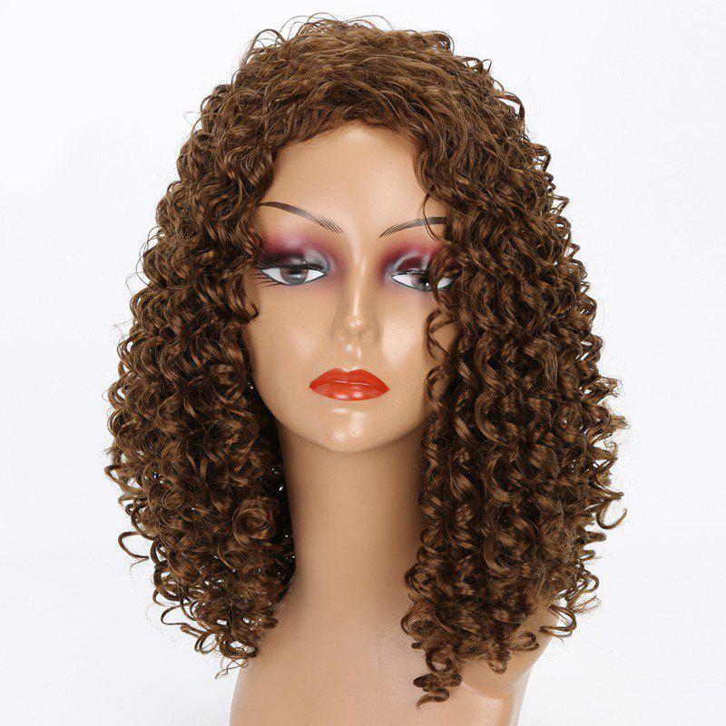 Long Inclined Bang Kinky Curly Synthetic Wig - GOLD BROWN
