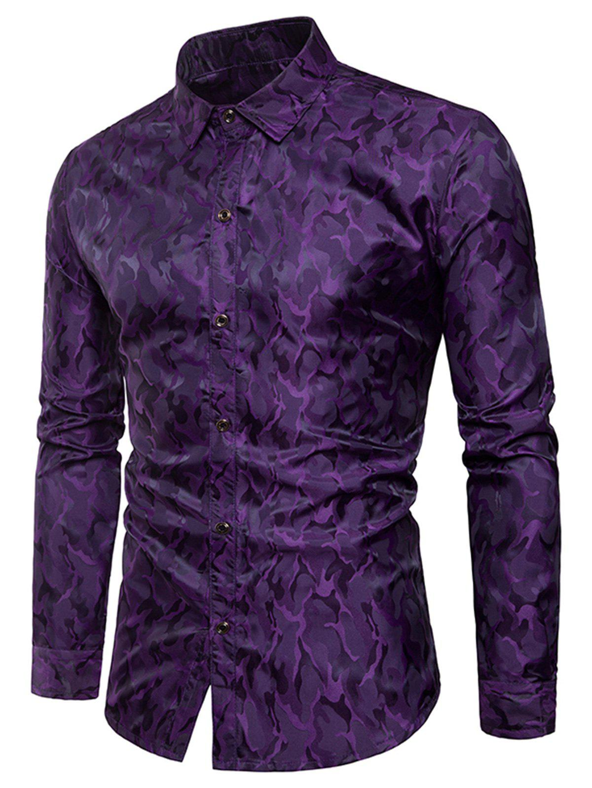 Glossy Camouflage Long Sleeve Shirt - PURPLE XL
