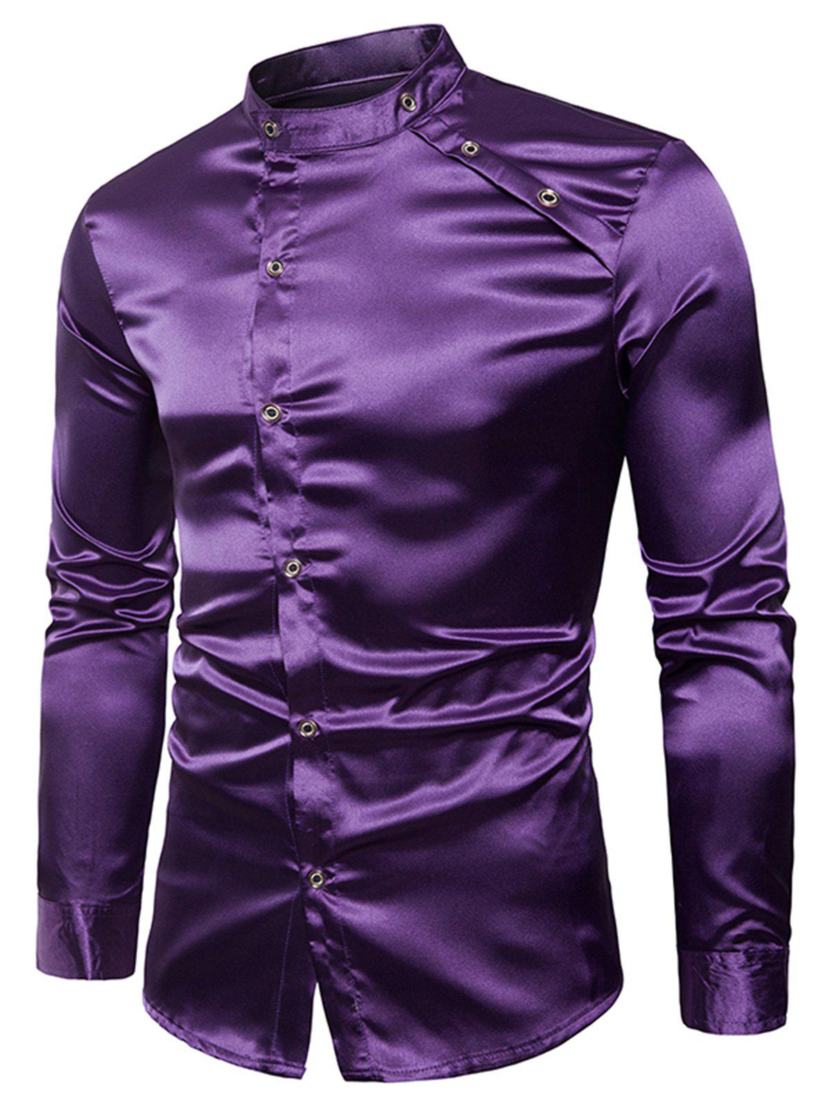 Long Sleeve Bright Buttons Panel Shirt - PURPLE L