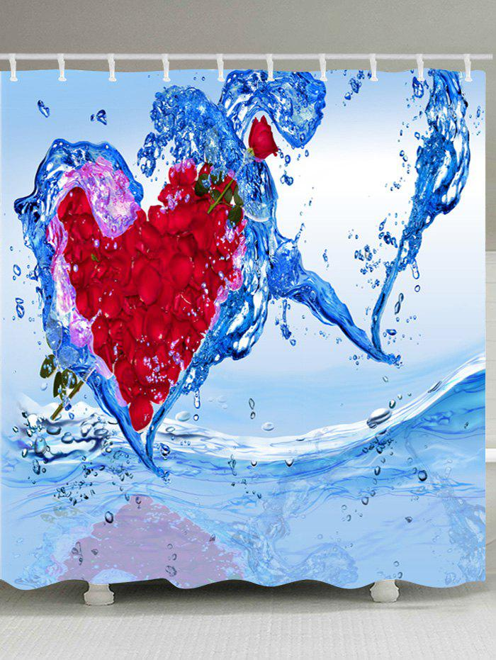 Petal Water Heart Print Waterproof Fabric Bath Shower Curtain - RED W59 INCH * L71 INCH
