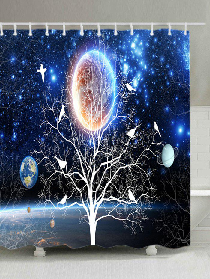Solar System Tree Print Waterproof Bathroom Shower Curtain - BLUE W71 INCH * L71 INCH