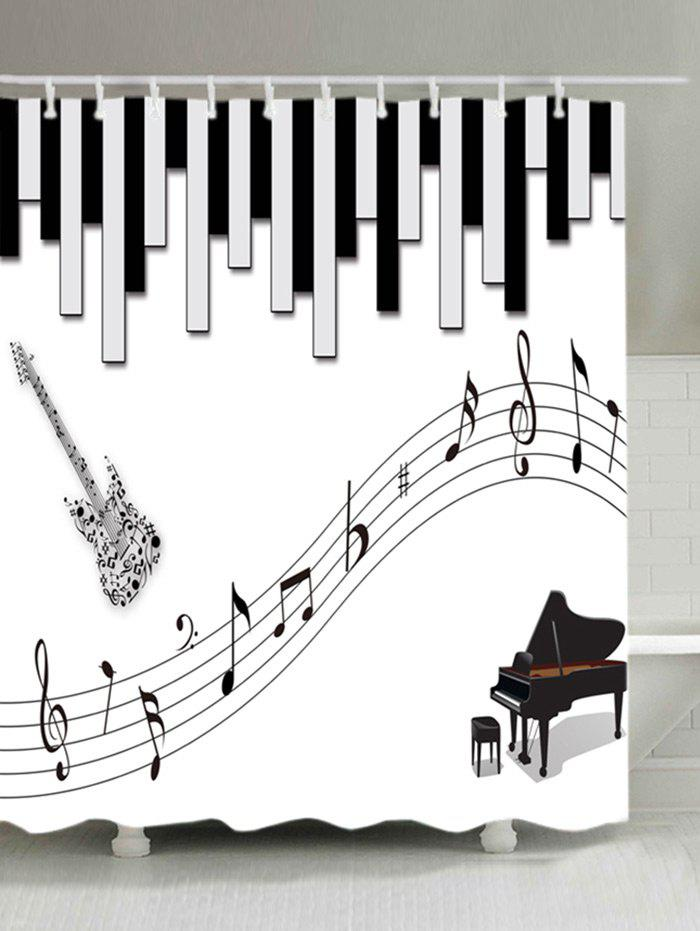 Musical Instrument Pattern Waterproof Shower Curtain - WHITE W59 INCH * L71 INCH