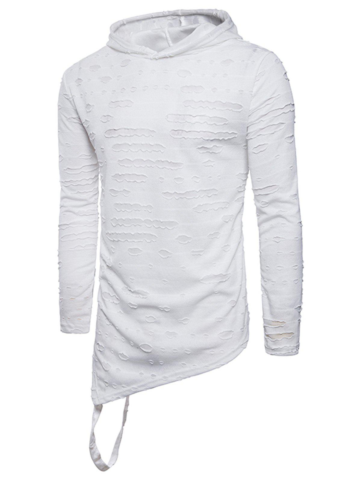 Hooded Distressed Longline Asymmetric T-Shirt - WHITE L
