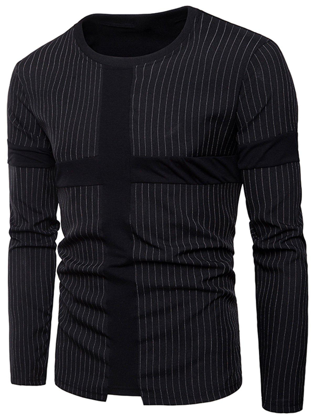 Panel Design Vertical Stripe T-shirt - BLACK L