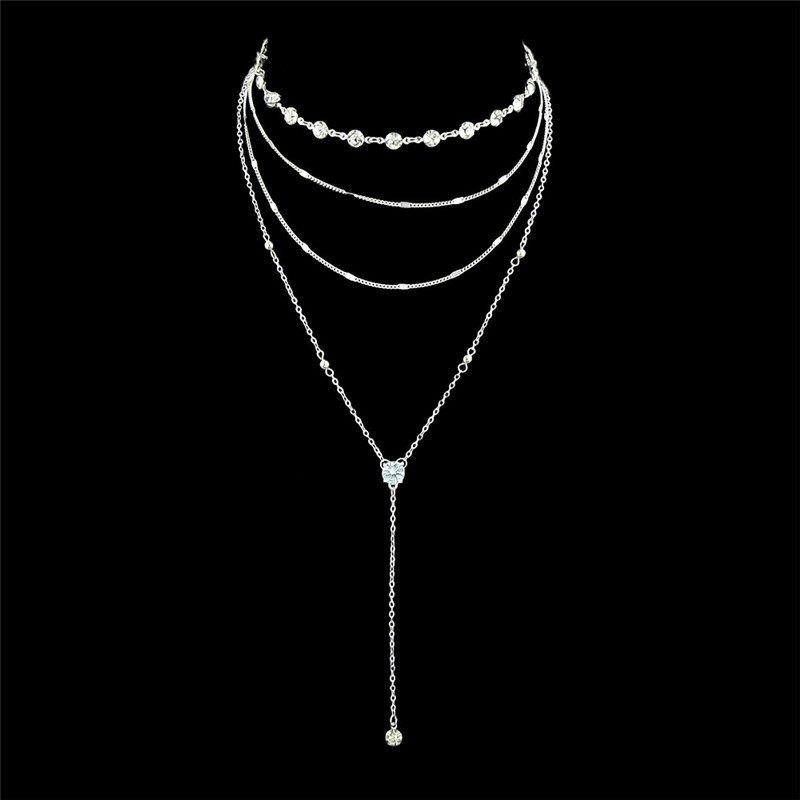 Rhinestone Layered Chain Collarbone Necklace Set rhinestone detail layered rings set 3pcs