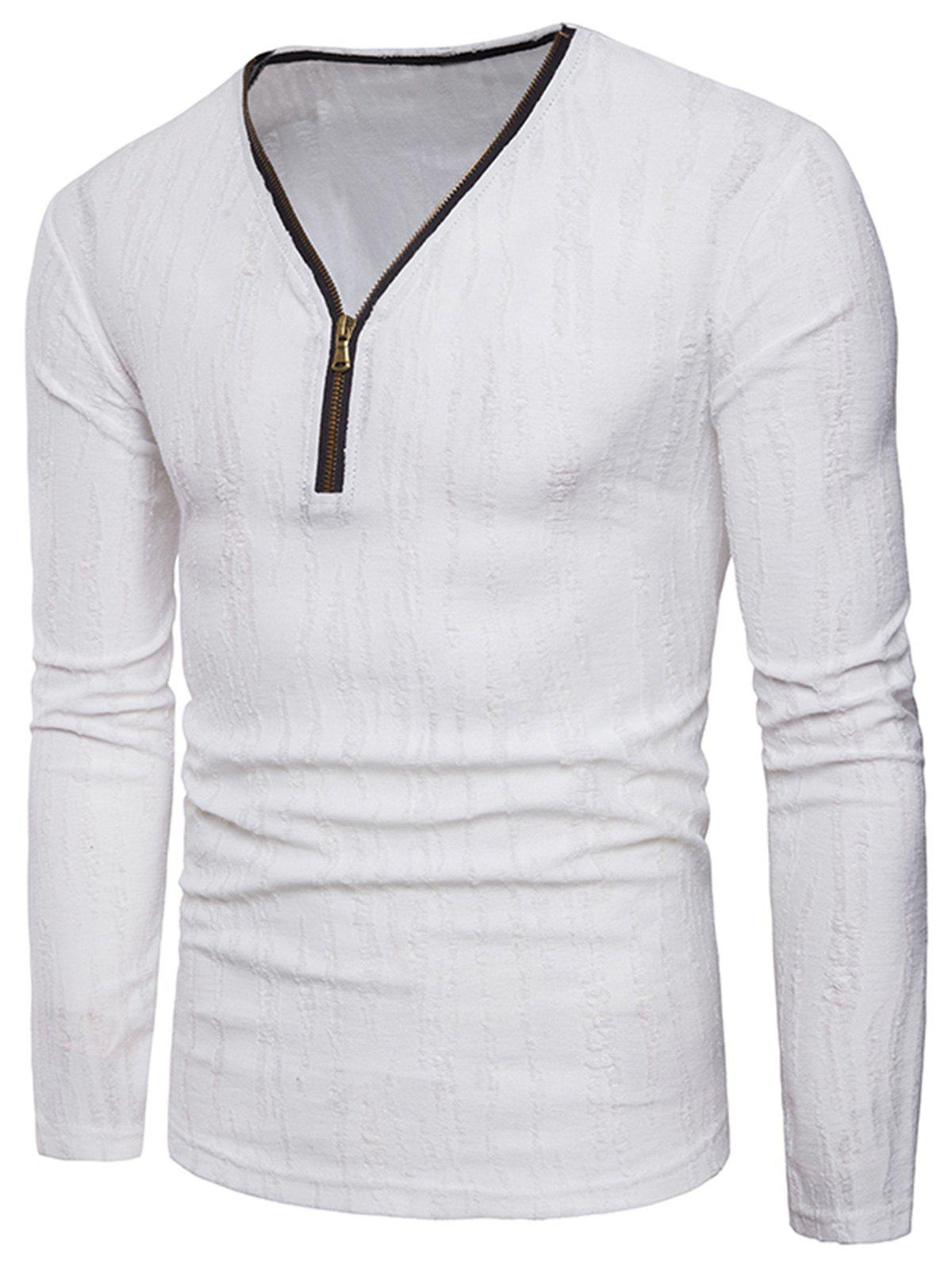 Long Sleeve Zipper Distressed T-Shirt - WHITE L