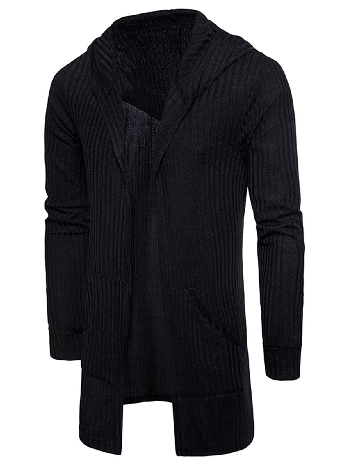 Pockets Longline Knitting Cardigan - BLACK L