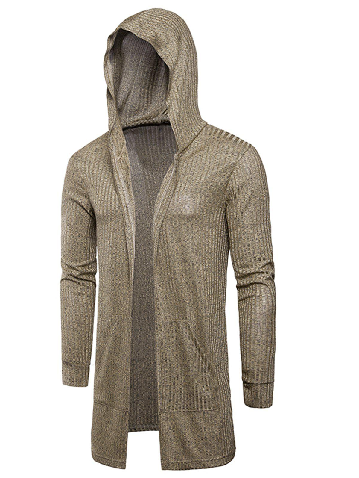 Pockets Longline Knitting Cardigan - KHAKI L