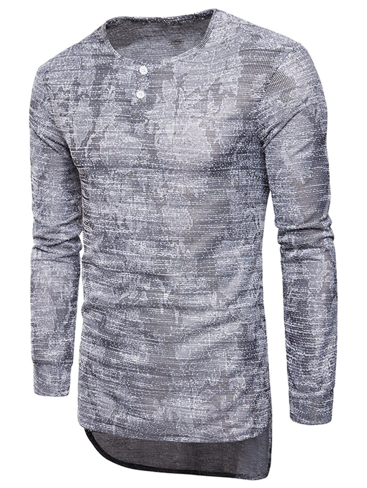 Long Sleeve Longline Jacquard T-shirt - GRAY XL