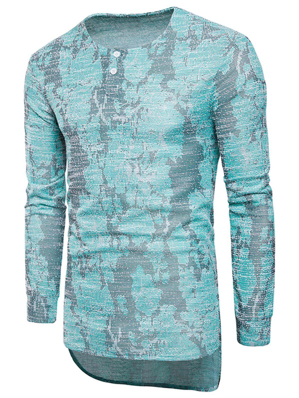 Long Sleeve Longline Jacquard T-shirt - BLUE 2XL