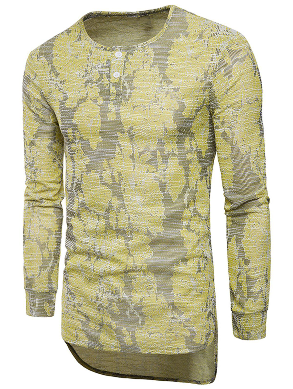 Long Sleeve Longline Jacquard T-shirt - YELLOW 2XL