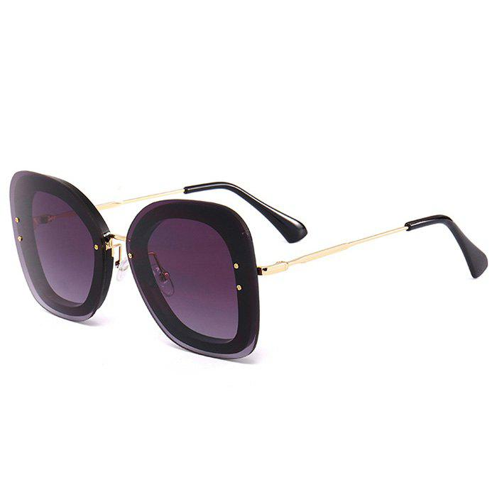 Anti-fatigue Metal Frame Butterfly Sunglasses - BLACK FRAME/GREY LENS