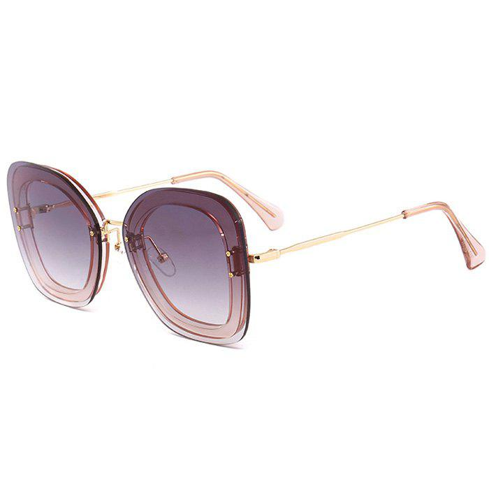 Anti-fatigue Metal Frame Butterfly Sunglasses - BROWN FRAME / GREY LENS