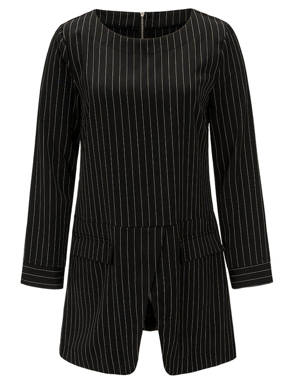 Front Slit Tunic Striped Blouse