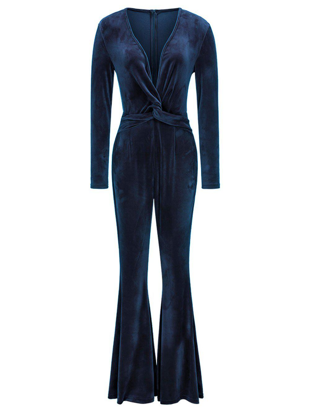 Twist Plunging Neck Flared Leg Jumpsuit - CADETBLUE L