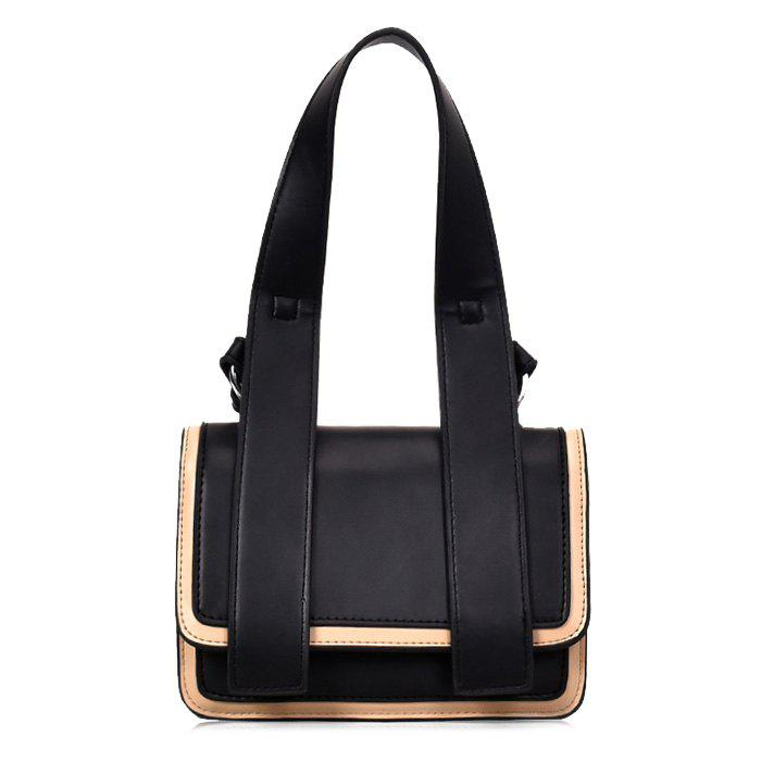 Flap Contrasting Color Crossbody Bag with Handle - BLACK