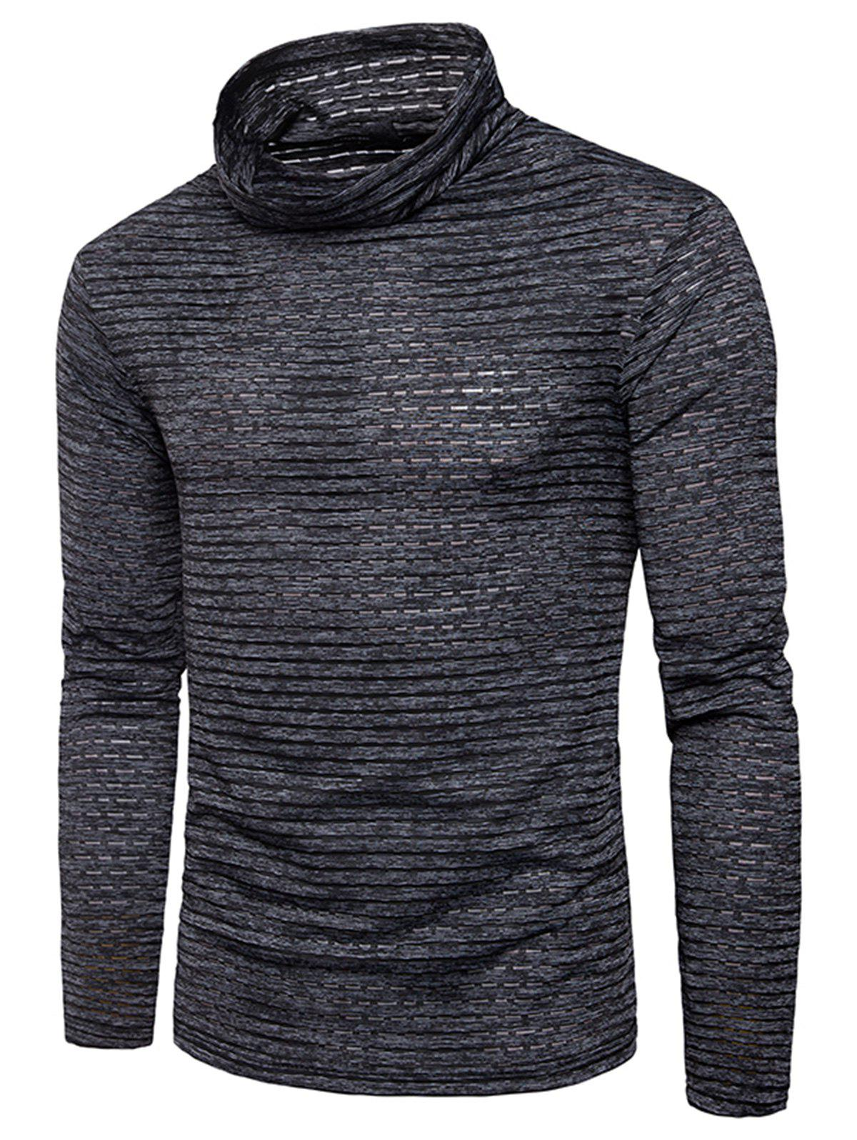 Turtle Neck Stripe Jacquard T-shirt - BLACK 3XL
