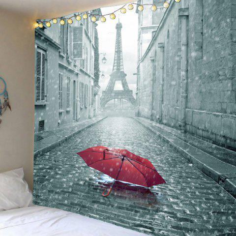Literary Paris Tower and Umbrella Printed Wall Art Hanging Tapestry - GRAY W79 INCH * L71 INCH