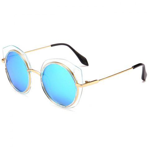 Anti UV Metal Frame Eyebrow Round Sunglasses - ICE BLUE