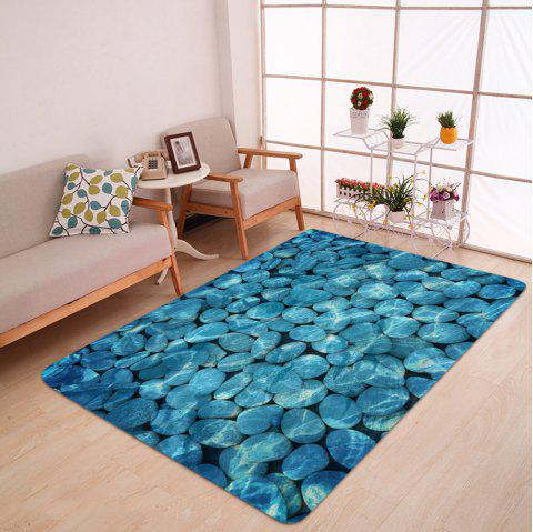 Pebbles In Water Pattern Indoor Outdoor Area Rug - LAKE BLUE W47 INCH * L63 INCH