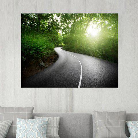 Highway Across The Forest Pattern Wall Art Sticker - GREEN W20 INCH * L27.5 INCH
