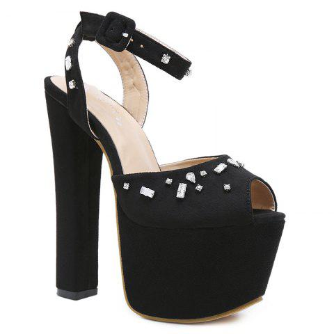 Crystal Ankle Strap Platform Sandals - BLACK 36