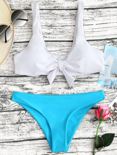 Two Tone Plunge Neck Bikini Set - BLUE XL