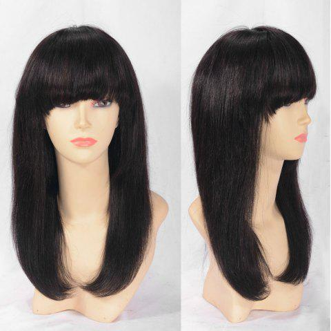Long Neat Bang Indian Remy Human Hair Lace Front Wig - NATURAL BLACK