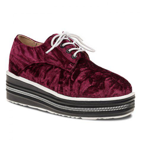 Lace Up Velvet Platform Shoes - WINE RED 35