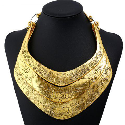 Layered Flower Peacock Printed Necklace - GOLDEN