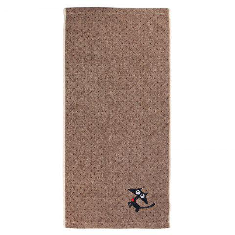 Cat Cotton Strong Water Absorption Towel - BROWN 74*35CM