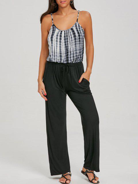 Tie Dyed Printed Spaghetti Strap Jumpsuit - BLACK L