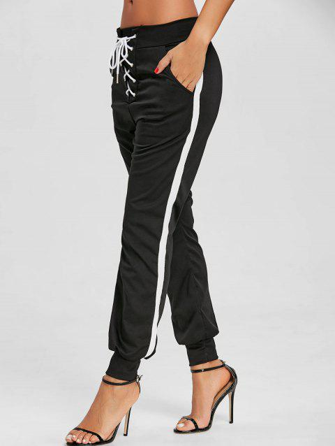 Lace Up Contrast Jogging Pants - BLACK XL