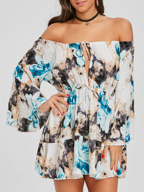 Print Off The Shoulder Swing Dress - BLUE 2XL