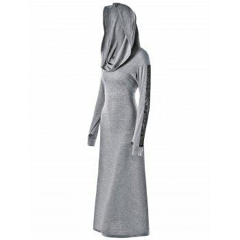 Convertible Collar Bodycon Maxi Dress - GRAY 2XL