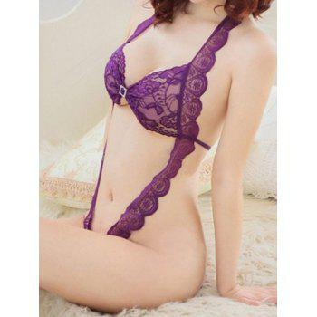 Sexy Style Halterneck See-Through Open Crotch Lace Teddy For Women