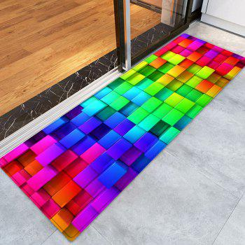 Colorful Block Print Indoor Outdoor Area Rug - COLORMIX W24 INCH * L71 INCH