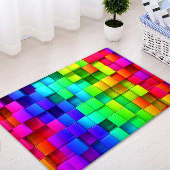 Colorful Block Print Indoor Outdoor Area Rug - COLORMIX W16 INCH * L24 INCH