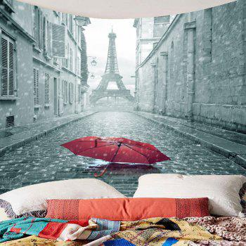 Literary Paris Tower and Umbrella Printed Wall Art Hanging Tapestry - GRAY W91 INCH * L71 INCH
