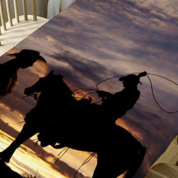 Setting Sun Scenery and West Cowboys Printed Table Cloth - BROWN W60 INCH * L84 INCH