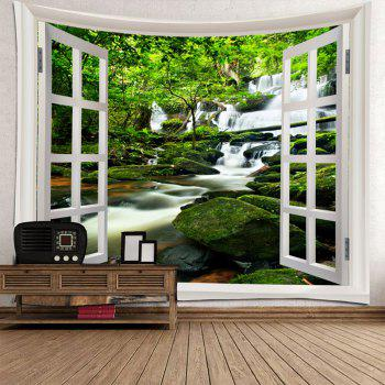 Window Outside Forest Stream Gurgling Water Printed Tapestry - GREEN W91 INCH * L71 INCH