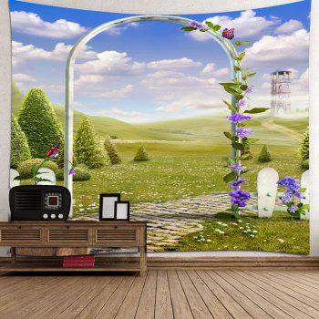 Arch Garden Meadow View Printed Decorative Tapestry - GREEN W79 INCH * L71 INCH