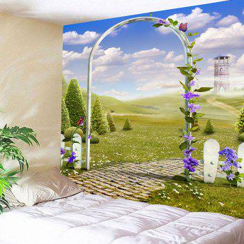 Arch Garden Meadow View Printed Decorative Tapestry - GREEN W91 INCH * L71 INCH